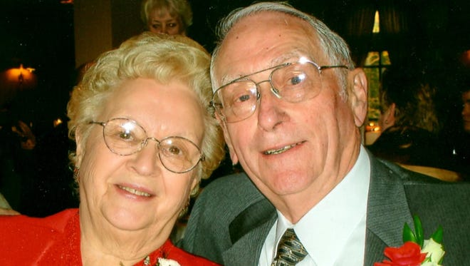 Robert E. Miller (right) is celebrating his 90th birthday. He and his wife, Marian (left), owned MIller Meats until 1990.