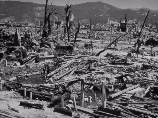 Rubble was almost all that was left in Hiroshima on Aug. 6, 1945, after the explosion of the first atomic bomb dropped on Japan.