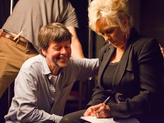 """Ken Burns with Connie Smith, after their interview for Burns' upcoming documentary """"Country Music,"""" which will air in 2019."""