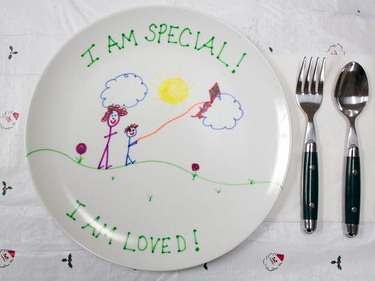 A plate made by a child who stayed at Family Promise.