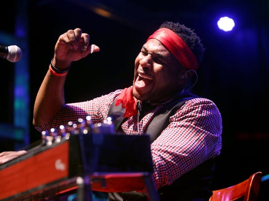 Headlining pedal steel guitarist Robert Randolph & the Family Band perform during the 6th annual Morristown Jazz and Blues Festival on the historic Morristown Green. August 20, 2016, Morristown, NJ