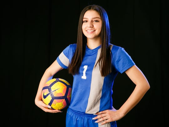 Brianna Anaya, a Blanchet Catholic School senior, is a finalist for Girls Soccer Player of the Year for the 2018 Statesman Journal Mid-Valley Sports Awards. Photographed at the Statesman Journal in Salem on Friday, March 23, 2018.
