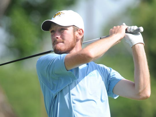 Snyder grad Jake Leatherwood watches his tee shot at 16 during the final round of the West Texas Junior Open on Thursday at the Abilene Country Club's Club Course. Leatherwood beat Abilene's Karson Grigsby and Brownwood's Jaryn Pruitt by a shot for the boys ages 15-18 title.