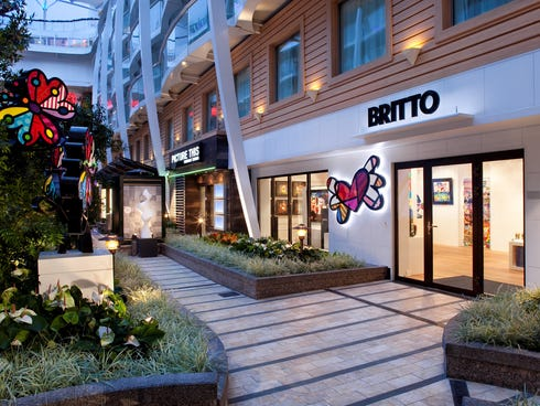 Royal Caribbean's Allure of the Seas features an open-air Central Park lined with such branded shops as the Britto art gallery.