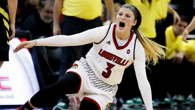 Louisville's Sam Fuehring is furious after a second play where she got knocked to the floor.