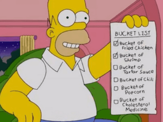 Animated character Homer Simpson proudly displays his