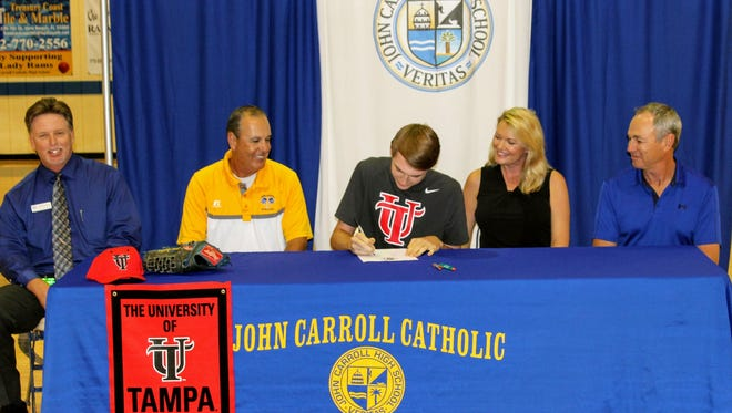 Brian Jacobus, a John Carroll High School senior, has signed a letter of commitment to play baseball at the University of Tampa.