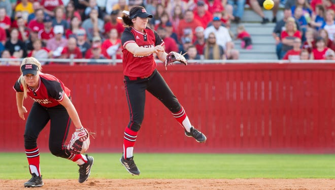 Alissa Dalton turns the double play as the UL Ragin' Cajuns take on Florida at Lamson Park Saturday Feb. 17, 2018.