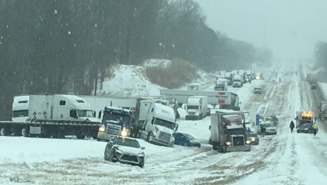 Tennessee Highway Patrol responds to a multiple vehicle crash on I-40 at the 120 mm near Jackson on Friday, Jan. 12, 2017.