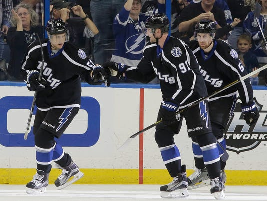 Tampa Bay Lightning center Valtteri Filppula (51), of Finland, celebrates his goal against the Minnesota Wild with teammates center Steven Stamkos (91) and defenseman Braydon Coburn (55) during the first period of an NHL hockey game Saturday, Jan. 2, 2016, in Tampa, Fla. (AP Photo/Chris O'Meara)