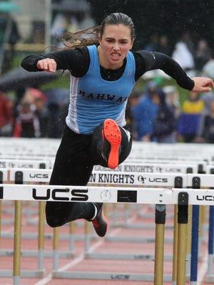 Lauren Stern of Mahwah wins the 100 meter hurdles in the B division on May 13, 2017.