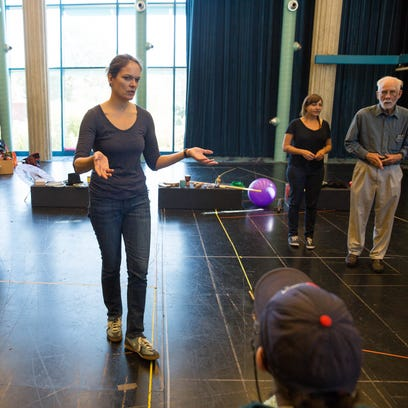 Nichole Hamilton,center, leads a acting workshop with