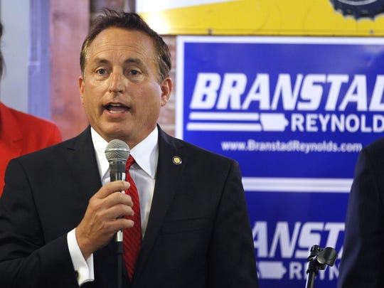 Secretary of state candidate Paul Pate speaks during a rally for Republican candidates at Smokey Row in Oskaloosa on Wednesday, June 4, 2014.