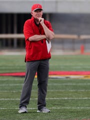 Former Louisville football coach Bobby Petrino during the 2018 spring game.