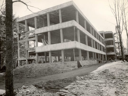 Holy Cross Convent being built, today known as Bell Tower Residence.jpg