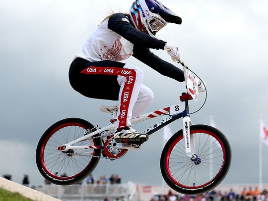Alise Post competes during the Women's BMX Cycling