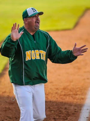 North Bullitt head coach Brian Wise argues a call in the sixth inning against Highlands, during the quarterfinal round of the KHSAA state baseball tournament Whitaker Bank Ballpark in Lexington.Photo by Tim Webb/KHSAA