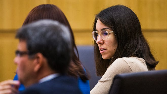 Jodi Arias sits in the Maricopa County Superior Court room of Judge Sherry Stephens in Phoenix on  Oct. 21, 2014, as the opening statements in her penalty phase retrial begins.
