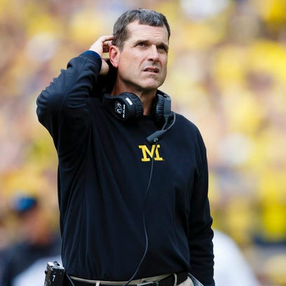 Michigan Wolverines coach Jim Harbaugh on the sideline