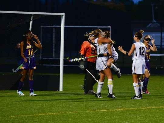 Pocomoke celebrates their second goal right after the