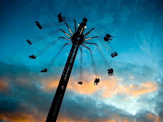 A new aerial swing at Mt. Olympus Theme Park in Wisconsin Dells is 140 feet high and has 12 arms.