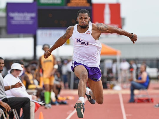 Northwestern State's Aaron Williams jumps at a home meet earlier this season.