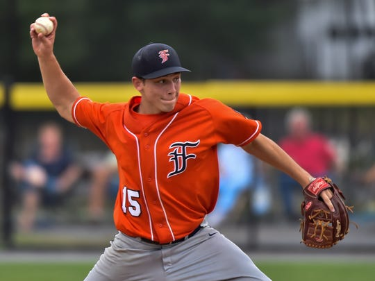 Tristan Daywalt pitches for Fayetteville during the