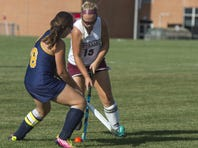 Shippensburg's Courtney Coy, right, makes a play against Greencastle-Antrim's Rachel Marconi earlier this season. Coy scored the lone goal of the game in a 1-0 victory for Shippensburg on Thursday afternoon.
