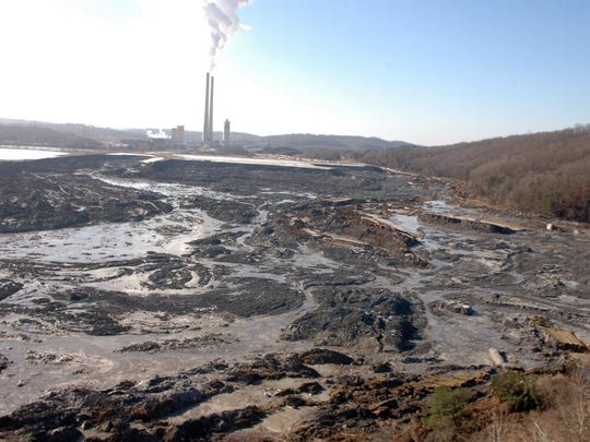 The result of the failure of a holding cell for coal ash sludge at the TVA Kingston Fossil Plant is pictured on Dec.  22, 2008, near Harriman, Tenn. The Tennessee Valley Authority's effort to undo the damage caused by the release of 5.4 million cubic yards of sludge took six years and cost over a billion dollars. (KNOXVILLE NEWS SENTINEL ARCHIVE)