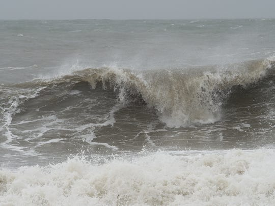 Nor'easter storm waves at Rehoboth Beach.