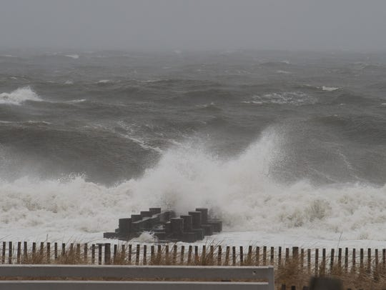 Waves crash on the shore at Rehoboth Beach on Tuesday.