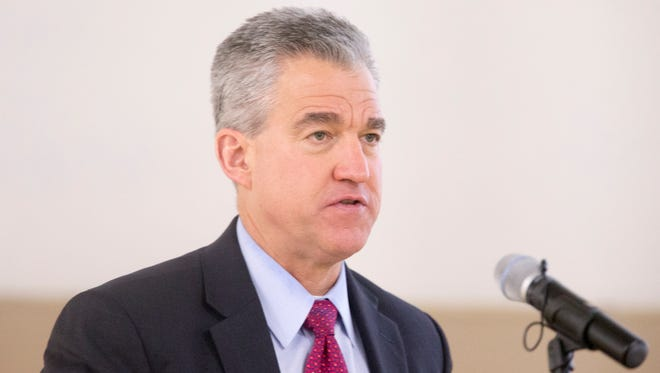 Josh Minkler, United States Attorney for the United States District Court for the Southern District of Indiana, at the Indanapolis Metropolitan Police Department Stewardship Report, Indianapolis, Monday, Feb. 26, 2018.