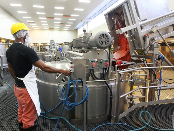 At LeDestri Foods, Terrell Pelope empties a 2000-pound