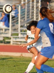 El Diamante's Brianna Gomez passes the ball down field during during Tuesday's Central Section Division II first-round playoff game in Visalia.