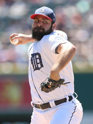 Michael Fulmer pitches against the Giants in the first inning July 4, 2017 at Comerica Park.