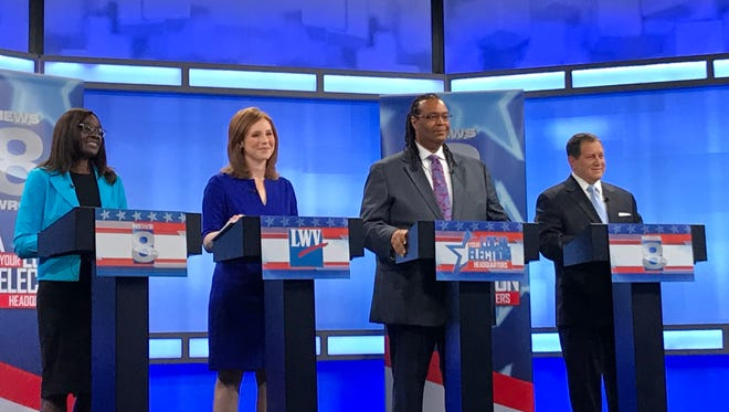 Candidates for New York's 25th Congressional District (from left) Robin Wilt, Rachel Barnhart, Adam McFadden and Joseph Morelle met for their first of two televised debates on Friday, June 15, 2018.