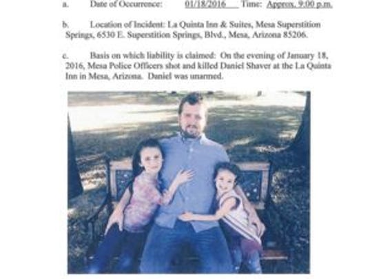 A photo of Daniel Shaver and his daughters appears in a notice of claim filed with the city of Mesa in February.