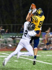 South Lyon's Brenden Lach (81) goes up for the grab