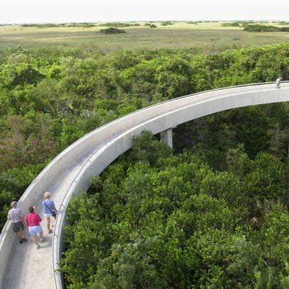 Tourists walk up the ramp of an observation tower at