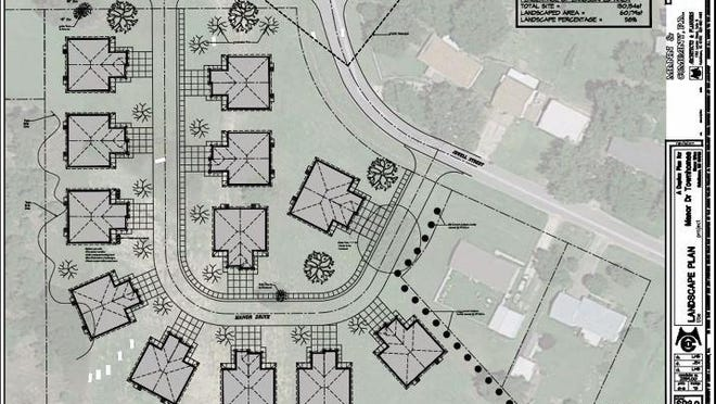 This drawing by Mann and Company shows the layout of a development proposed by Interfaith Housing and Community Services south of 34th Avenue that will include a dozen duplexes that will be leased to the elderly and disabled. The Hutchinson Planning Commission approved rezoning the land to R-5, high density, to allow the project to be developed as a single lot. The city council must still consider the rezone,  but the agency hopes to break ground in February or March.