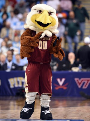 The Boston College Eagles mascot performs during game against North Carolina during the ACC tournament at Greensboro Coliseum.