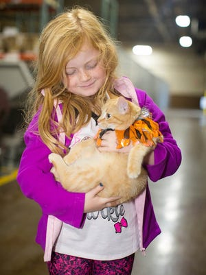 A young girl with her newly adopted cat through BISSELL Pet Foundation Empty the Shelter event.