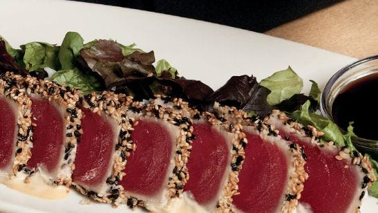 Ahi tuna sashimi at Bonefish Grill.