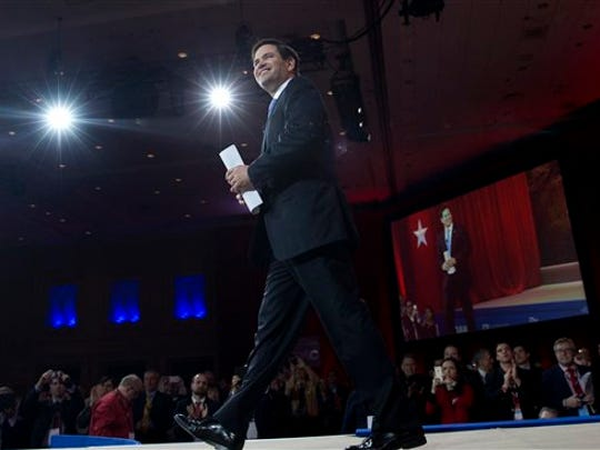Sen. Marco Rubio, R-Fla., arrives to speak during the Conservative Political Action Conference (CPAC) in National Harbor, Md., Friday, Feb. 27, 2015. (AP Photo/Carolyn Kaster)