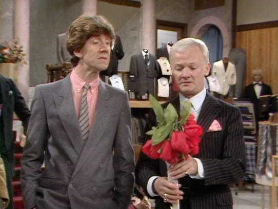 """Mike Berry and John Inman in 'Are You Being Served?"""""""