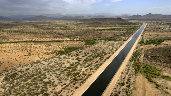 The CAP canal cuts through the desert west of Phoenix.