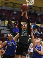 Class C's Kailee Oliverson shoots in Friday's game