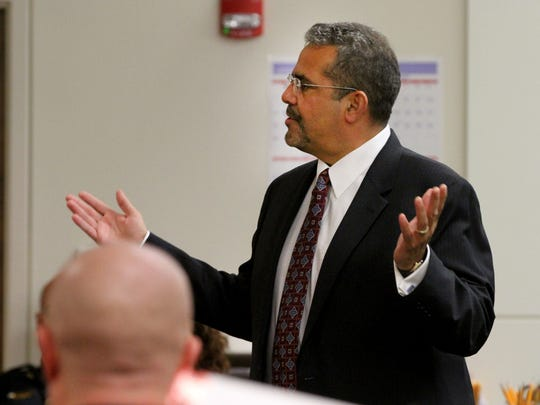 Oswaldo Torres Quiroz's attorney Carlos Diaz-Cobo speaks to the jury during his opening statement in State Superior Court in Freehold Tuesday, September 26, 2017.  Torres Quiroz is accused of attempting to murder an Asbury Park police officer in an incident in which he was shot by police and seriously injured.