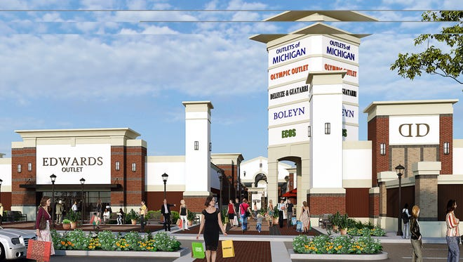 A rendering of the now-cancelled Outlets of Michigan proposed for Romulus across from the airport