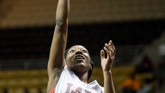 Lee's Zaniya Crawford shhoots against Central-Phenix City at the AHSAA Basketball Regional at the ASU Acadome in Montgomery, Ala., on Tuesday evening February 13, 2018.